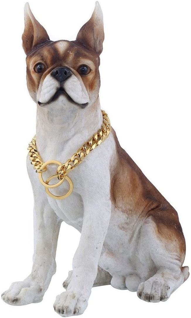 Lansian 13mm//15mm Gold Tone Stainless Steel Dog Collar Pet Dog Choke Chain Dog Necklace 12-34 inch