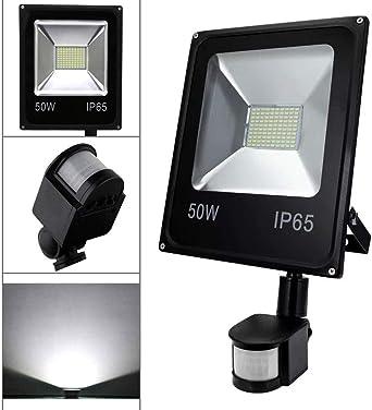 Wolketon Foco LED con detector de movimiento, foco exterior, aluminio, 220 V, foco de luz exterior, resistente al agua IP65 para jardín, patio, deportes, garaje, 50W Kaltweiß: Amazon.es: Iluminación