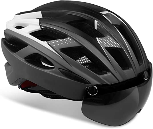 KINGLEAD Casco de Bicicleta con Luz LED Unisex Casco de Bicicleta Protegido para Carreras de Ciclismo Skateboarding al Aire Libre Seguridad ...