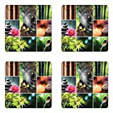 Lunarable Spa Coaster Set of Four, Oriental Culture Mosaic Meditation Themed Aroma Candles Water Sounds Nature, Square Hardboard Gloss Coasters for Drinks, Umber Lime Green Pink