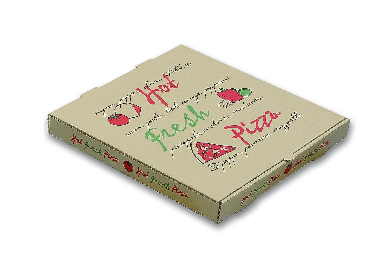 W embalaje wppbe8 K caja de pizza, Hot Fresh Pizza impresión, ondulado, 1 5/8 de profundidad, 8