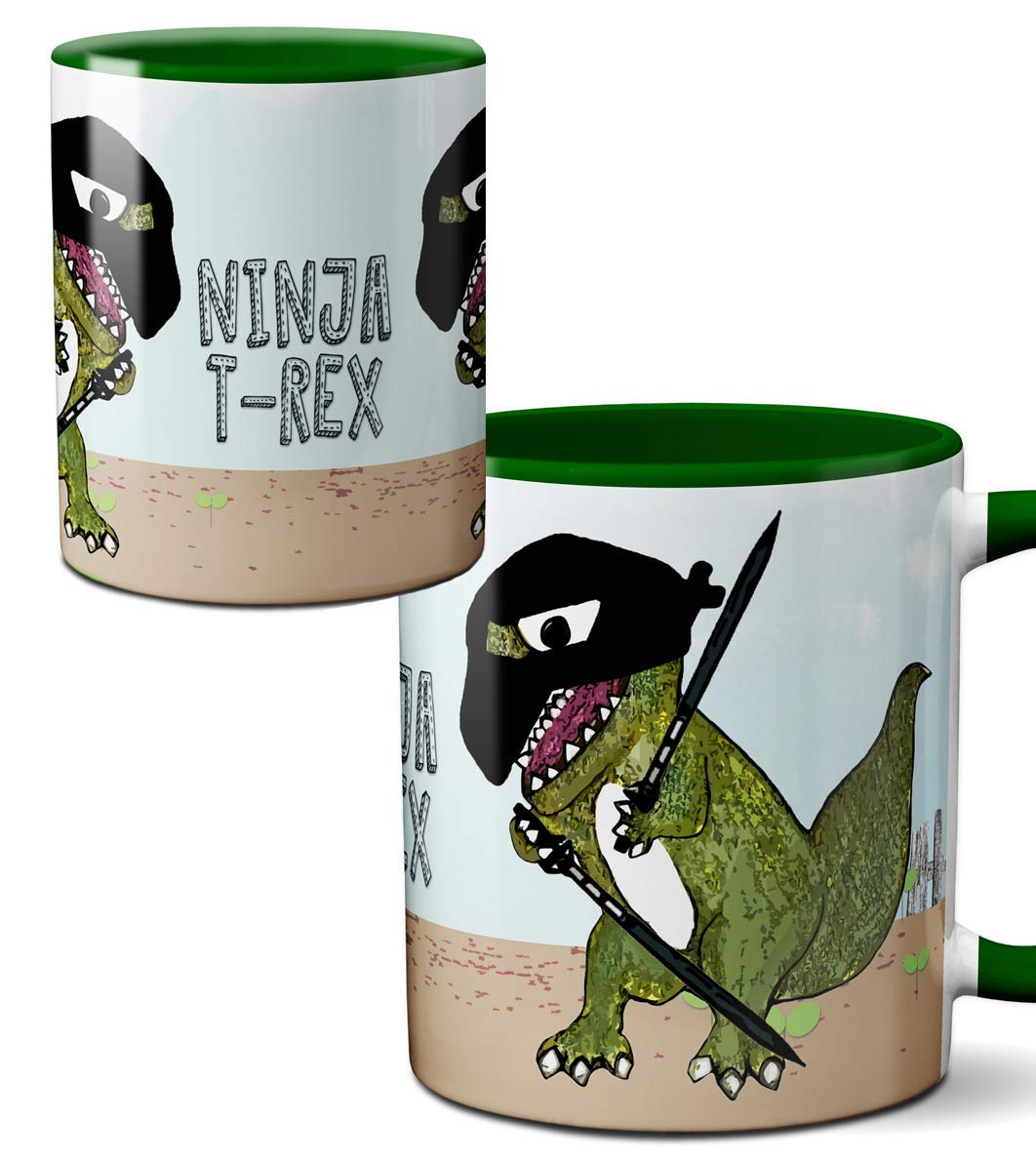Ninja T-Rex Dinosaur Martial Arts Mug by Pithitude - One Single 11oz. Green Coffee Cup