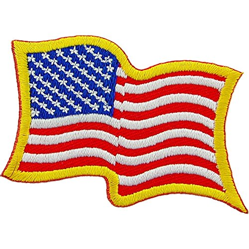 (American Flag Wavy Patch Red White & Blue 2 1/4