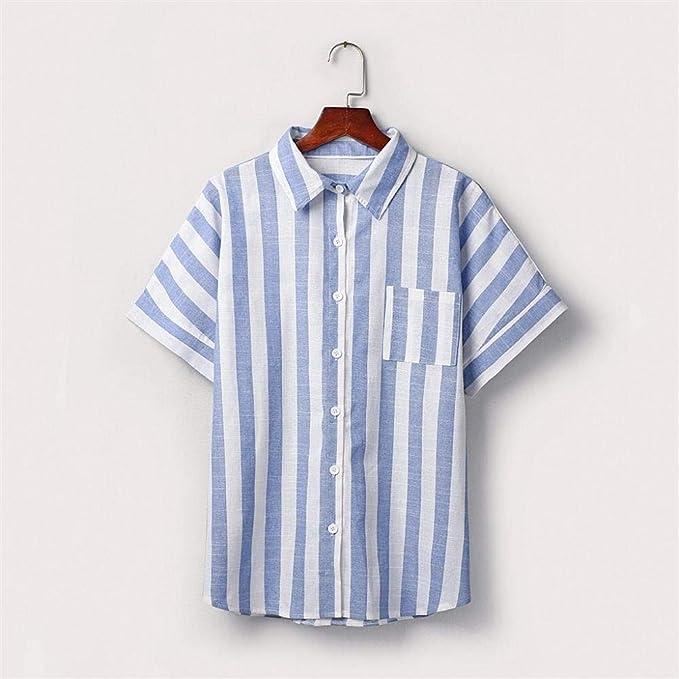 VJGOAL Camisas de Solapa a Rayas de Manga Corta con Botones ...