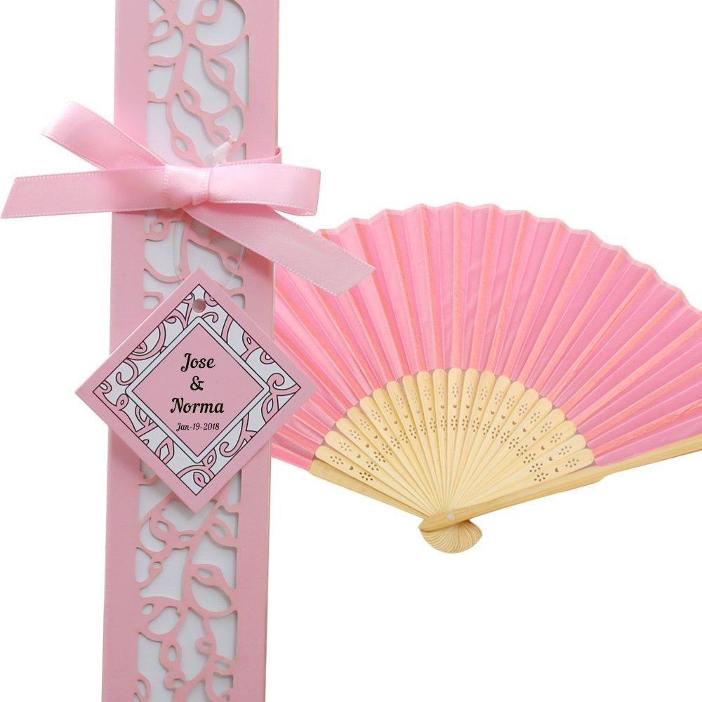 Amazon.com: Doris Home 50pcs Pink Silk Bamboo Handheld Folded Fan ...