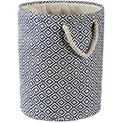 """DII Woven Paper Basket or Bin, Collapsible & Convenient Organization & Storage Solution for Your Home (Large Round - 15x20"""") - Nautical Blue Geo Diamond"""