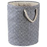 DII Woven Paper Basket or Bin, Collapsible & Convenient Home Organization Solution for Bedroom, Bathroom, Dorm or Laundry (Medium Round - 14x17') - Nautical Blue Geo Diamond