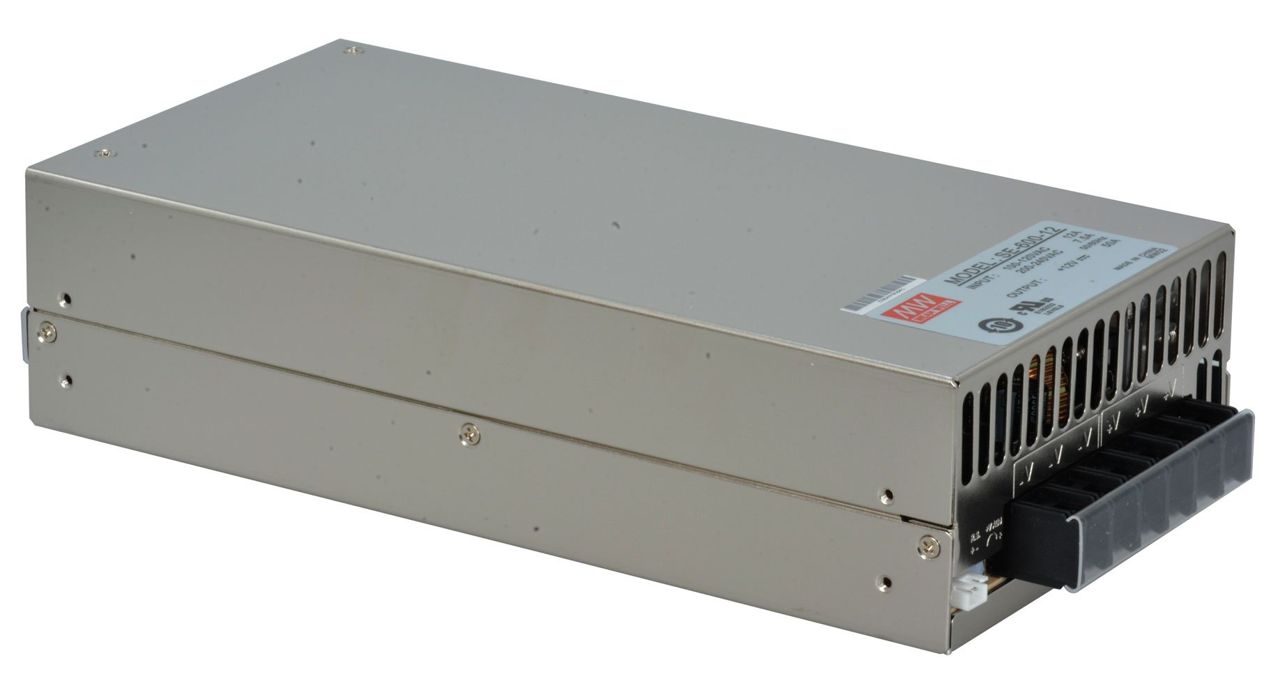 MEAN WELL SE-600-12 AC to DC Power Supply, Single Output, 12V, 50 Amp, 600W, 1.5'' by MEAN WELL