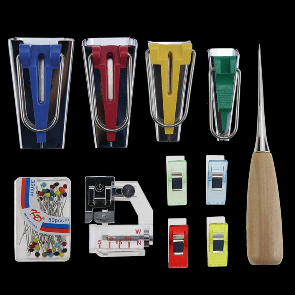 14-28 Days Delivery Bias Tape Maker Set Fabric Bias Tape Maker Tools 4 Sizes DIY Sewing Bias Tape Makers with Craft Clips Awl for Quilt Binding