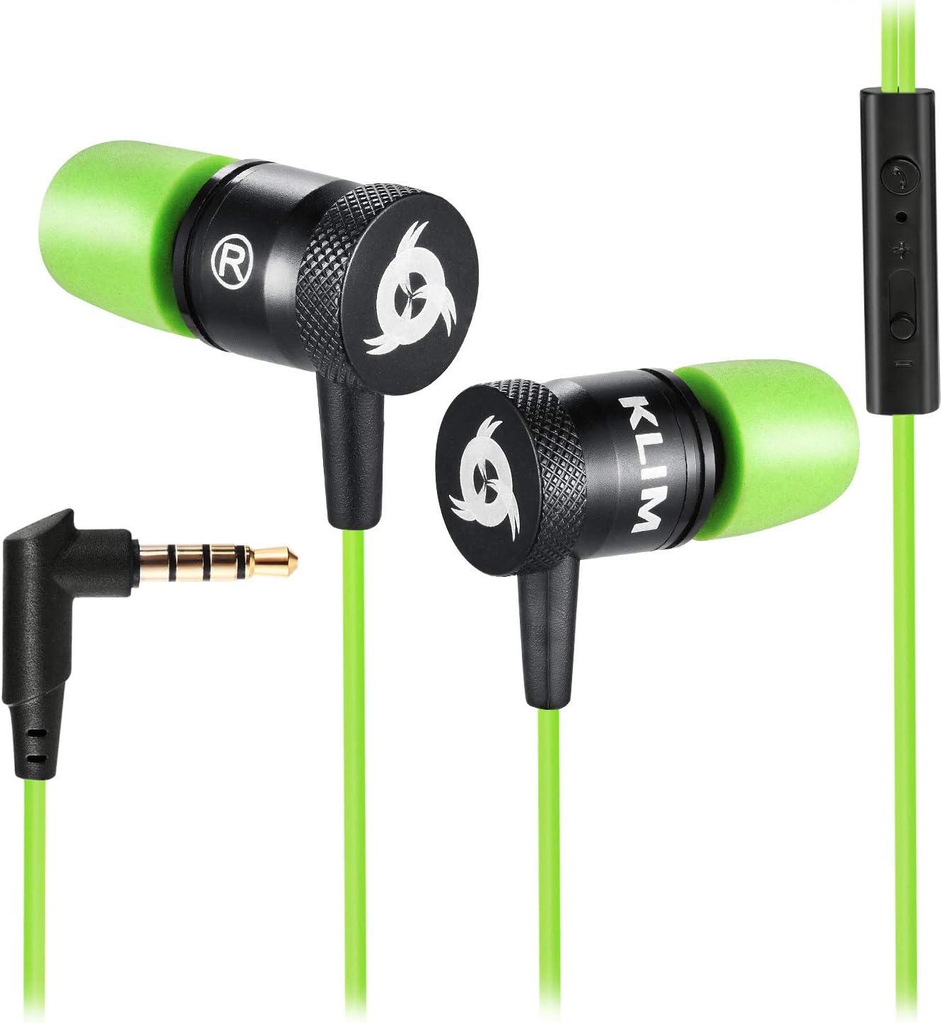KLIM™ Fusion - Auriculares con micrófono para móvil + Garantía 5 años + Innovadora Espuma de Memoria + Jack 3,5 mm + Compatibles con Smartphone, Tablet, Consola, PC - Nueva Versión 2020 - Verde