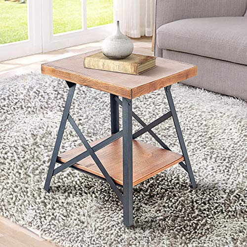 Harper&Bright Designs End Table with Metal Legs, Living Room Set, Solid Wood, Rustic (Brown)