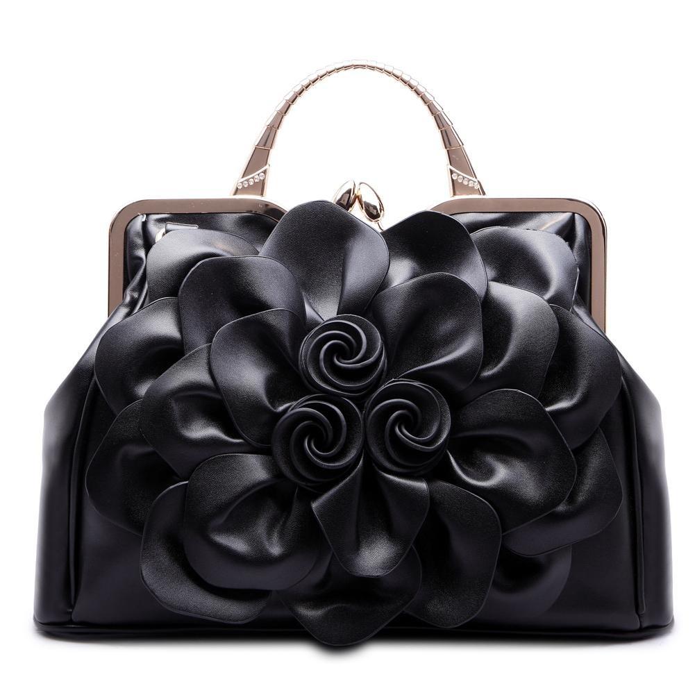 SUNROLAN Women's Evening Clutches Handbags Formal Party Wallets Wedding Purses Wristlets Ethnic Totes Satchel (Black)