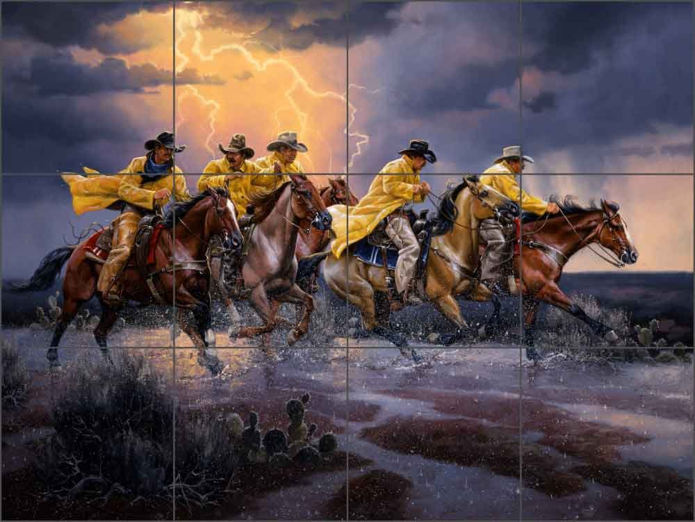 Artwork On Tile Ceramic Tile Mural Backsplash Western Cowboy Art Greased Lightnin' by Jack Sorenson - Kitchen Bathroom Shower (17'' x 12.75'' - 4.25'' tiles)