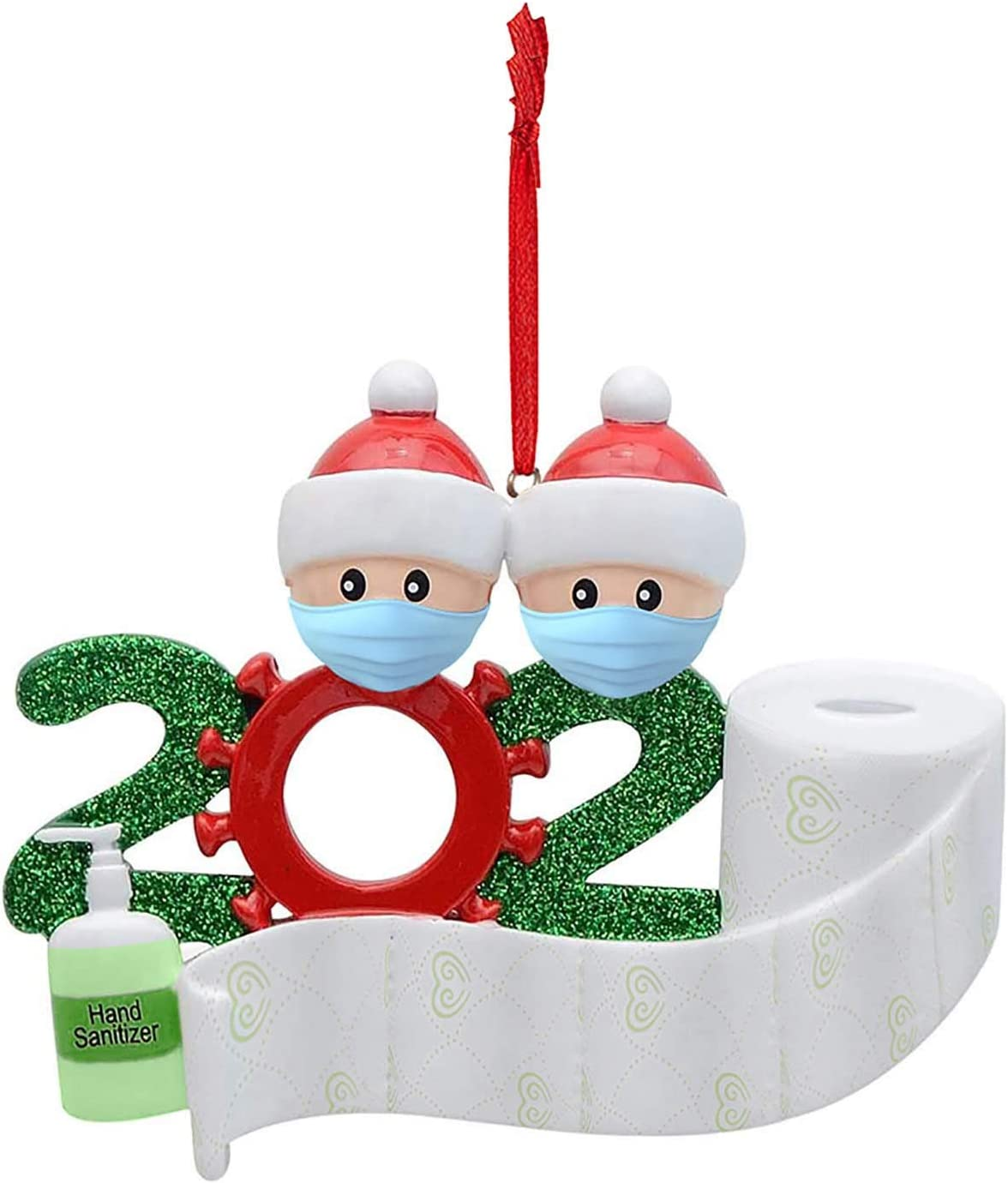 Gallity Lights 2pcs Christmas Tree Hanging Pendant Survived Family Ornaments 2020 Covid Favors Santa Claus Gift Xmas Party Favors Nice Home Office Decor Holiday Decorations (A)