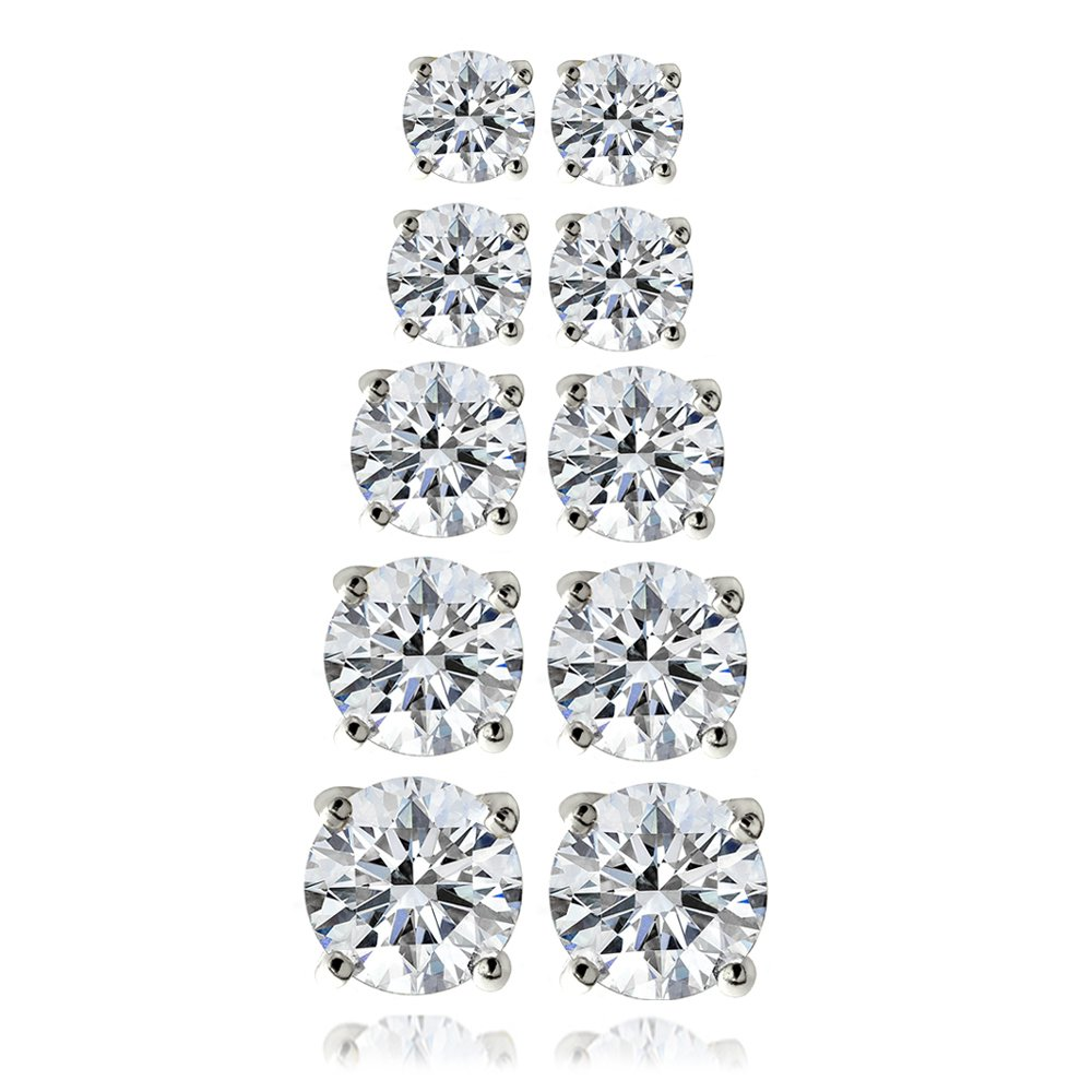 Silver Tone Set of 5 Round Solitaire Cubic Zirconia Earrings Set