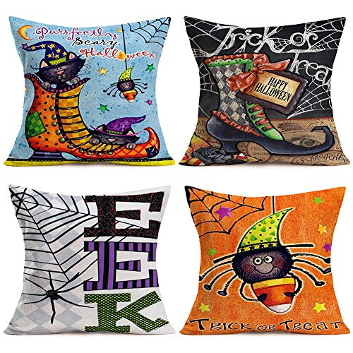 ShareJ Happy Halloween Series Spider Web Clown Boots Cotton Linen Trick or Treat Cushion Cover with Words 4 Pack Throw Pillow Case Home Sofa Decorative 18x18 Inches Colorful]()