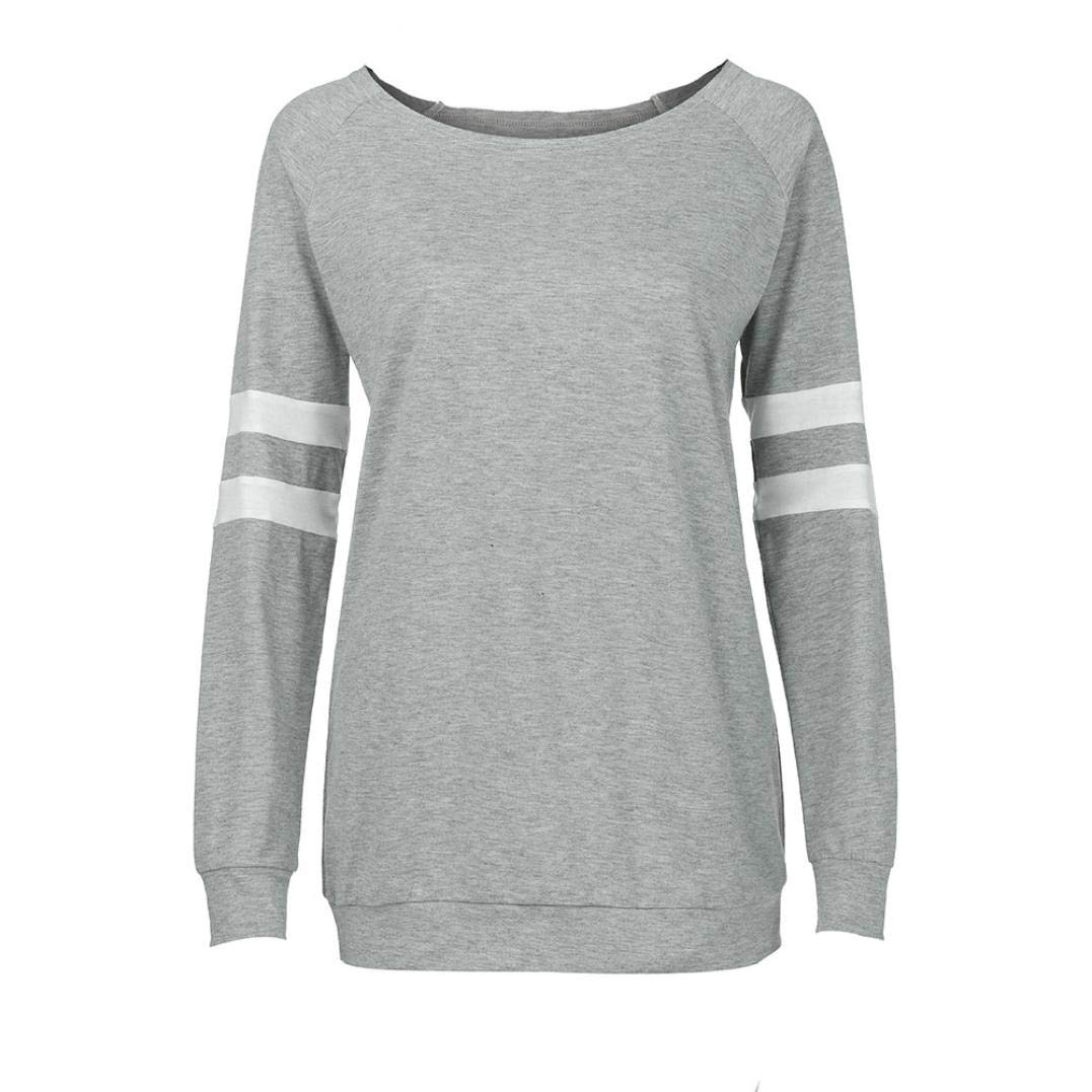 4f642a38a46 Sunhusing Women's Large Size Loose Long Sleeve Cuff Stripe Splice Blouse  Casual T-Shirt Top at Amazon Women's Clothing store: