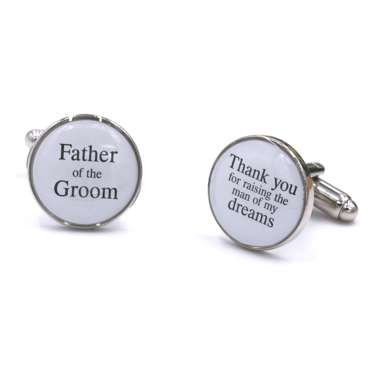 LParkin Wedding Gift Cuff Links -Father of the Groom, Thank You For Raising The Man of My Dream (White)