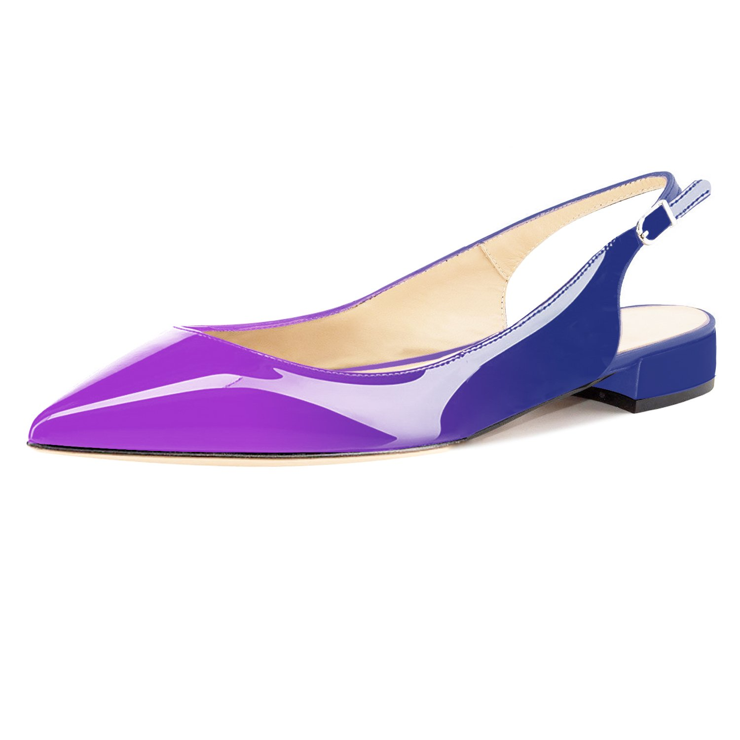 Eldof Women Low Heels Pumps | Pointed Toe Slingback Flat Pumps | 2cm Classic Elegante Court Shoes B07CG77MJB 10.5 B(M) US|Purple-blue