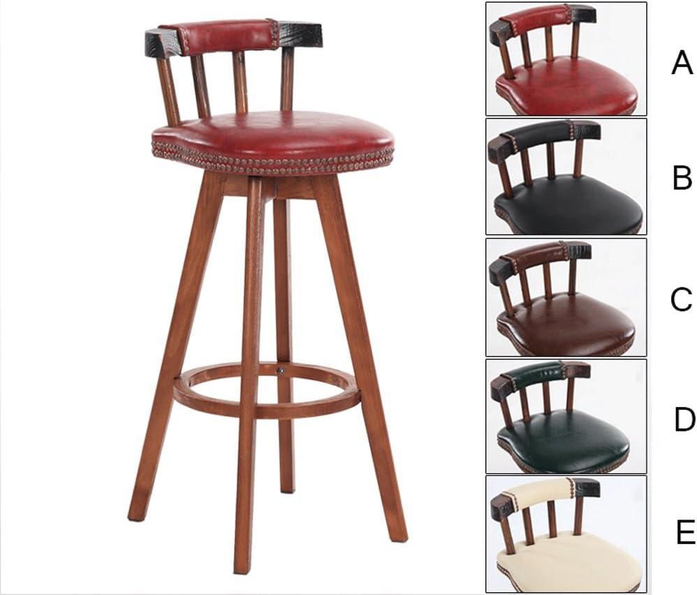 Bar chair CWT Retro Style Swivel High Chair, Bar Lounge Chairs, Home Decor Bar Stools, Retro Color Stool Legs (Size : H63CM)