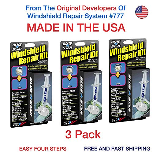 (3 Pack Blue-Star Fix Your Windshield Do It Yourself Windshield Repair Kits, Glass Repair KIT Stone Damage CHIP Model # 777 Prevent Stone Damage from Spreading Made in USA)