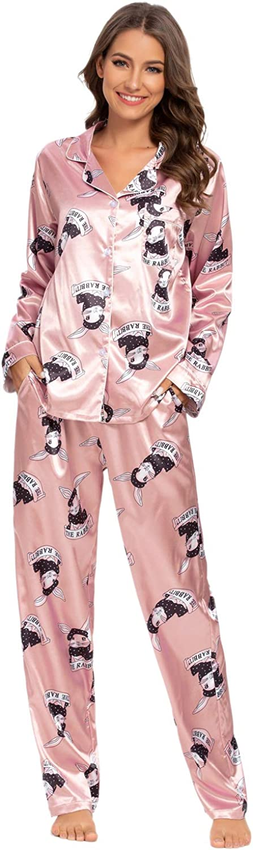 Satin Pyjamas Women Button Down Silk Pjs Floral Long//Short Sleeve Top and Shorts//Pants Sleepwear Lady Nightwear Soft Lounge Sets GOSO Ladies Pyjamas