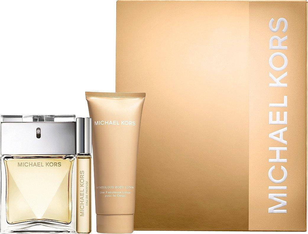 Michael Kors 3 Piece Set: 3.4 oz Eau de Parfum Spray + .34 oz Eau de Parfum Rollerball + 3.4 oz A Fabulous Body Lotion by Michael Kors