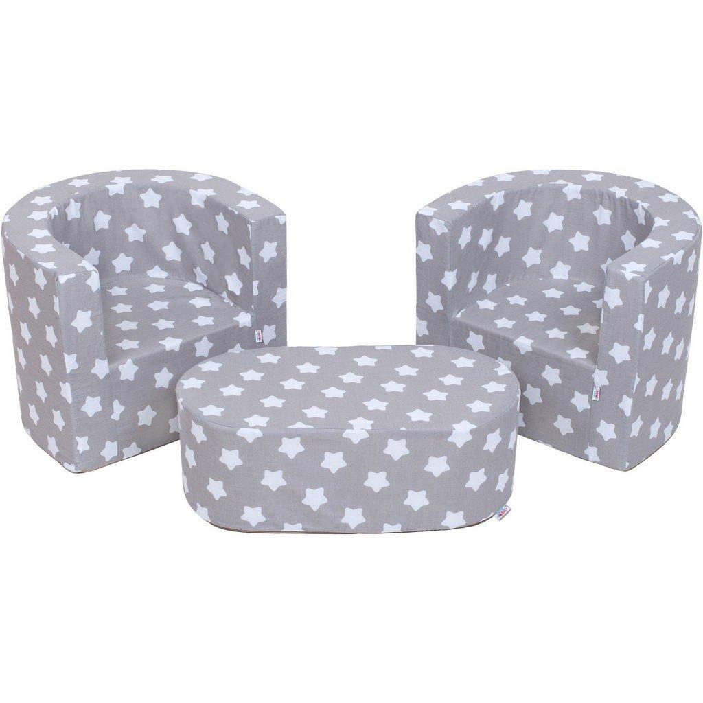 MuseHouse Arredamento per bambini 2 poltrone e un pouf Set pieghevole per asilo nido Morbido leggero due sedie e tavolo SET 3 pezzi per la camera da letto o soggiorno