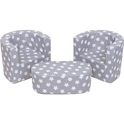 Mueble para Niños 2 sillones y un puf Juego de cuna plegable para el cuarto de los niños