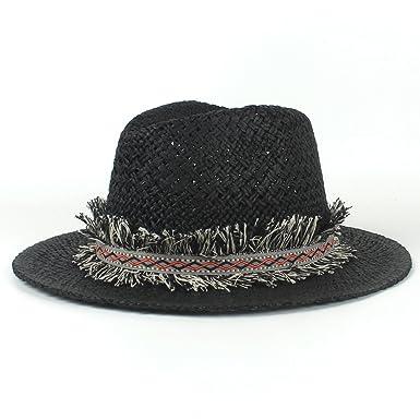 9c0481683f449 SMC Fashion Women Men Panama Hat with Tassel Beach Fedora Sun Hat (Color    Black