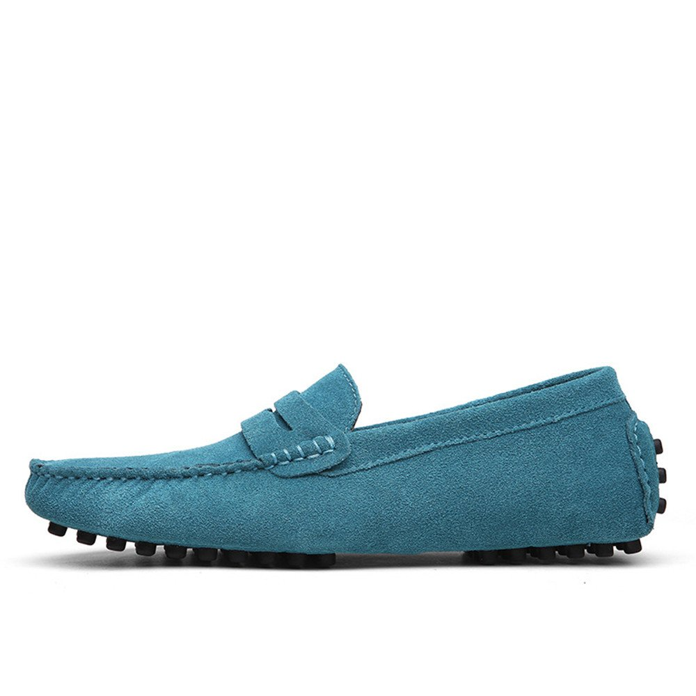 bluee FeiNianJSh Men's Genuine Leather Casual shoes Slip-On Driving Penny Loafers Suede Moccasins Boat shoes Up to Size 49 EU Large