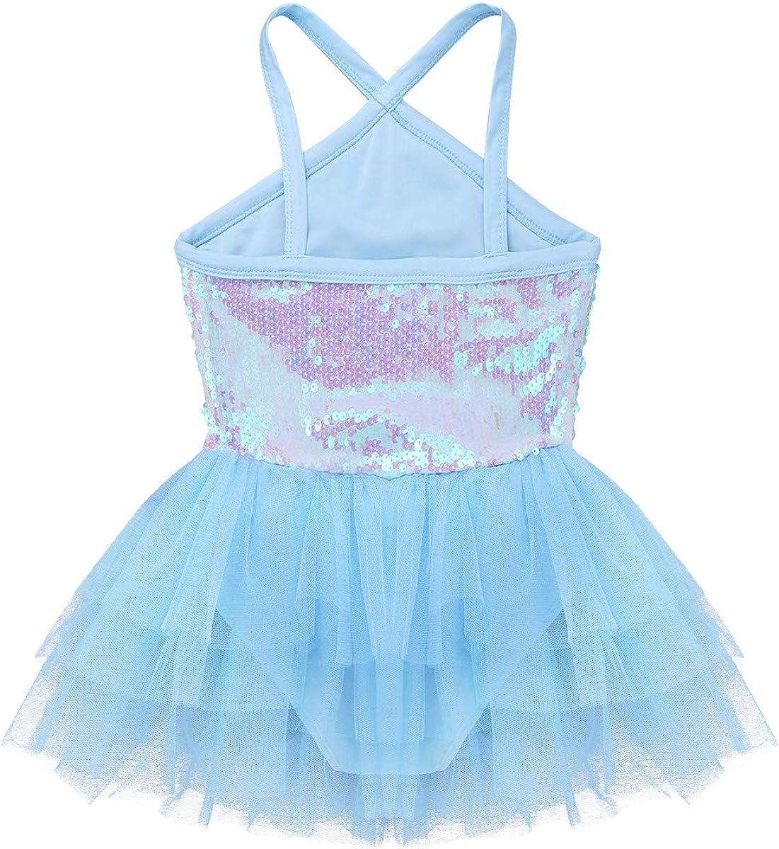FEESHOW Girls Sequined Camisole Ballet Dance Tutu Dress Gymnastic Leotard Asymmetrical Skirt Fairy Costumes