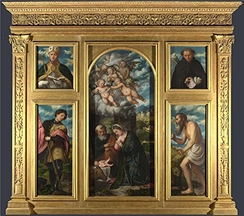 Oil Painting 'Girolamo Romanino High Altarpiece S. Alessandro Brescia', 20 x 23 inch / 51 x 58 cm , on High Definition HD canvas prints is for Gifts And Bar, Foyer And Nursery (Professional Clown Shoes)