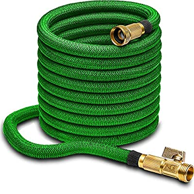 """Nifty Grower 100ft Garden Hose - All New Expandable Water Hose with Double Latex Core, 3/4"""" Solid Brass Fittings, Extra Strength Fabric - Flexible Expanding Hose with Storage Bag for Easy Carry"""