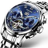 Swiss Men's Stainless Steel Tourbillon Automatic Mechanical Watch Calendar Week Multifunctional Top Brand Watch