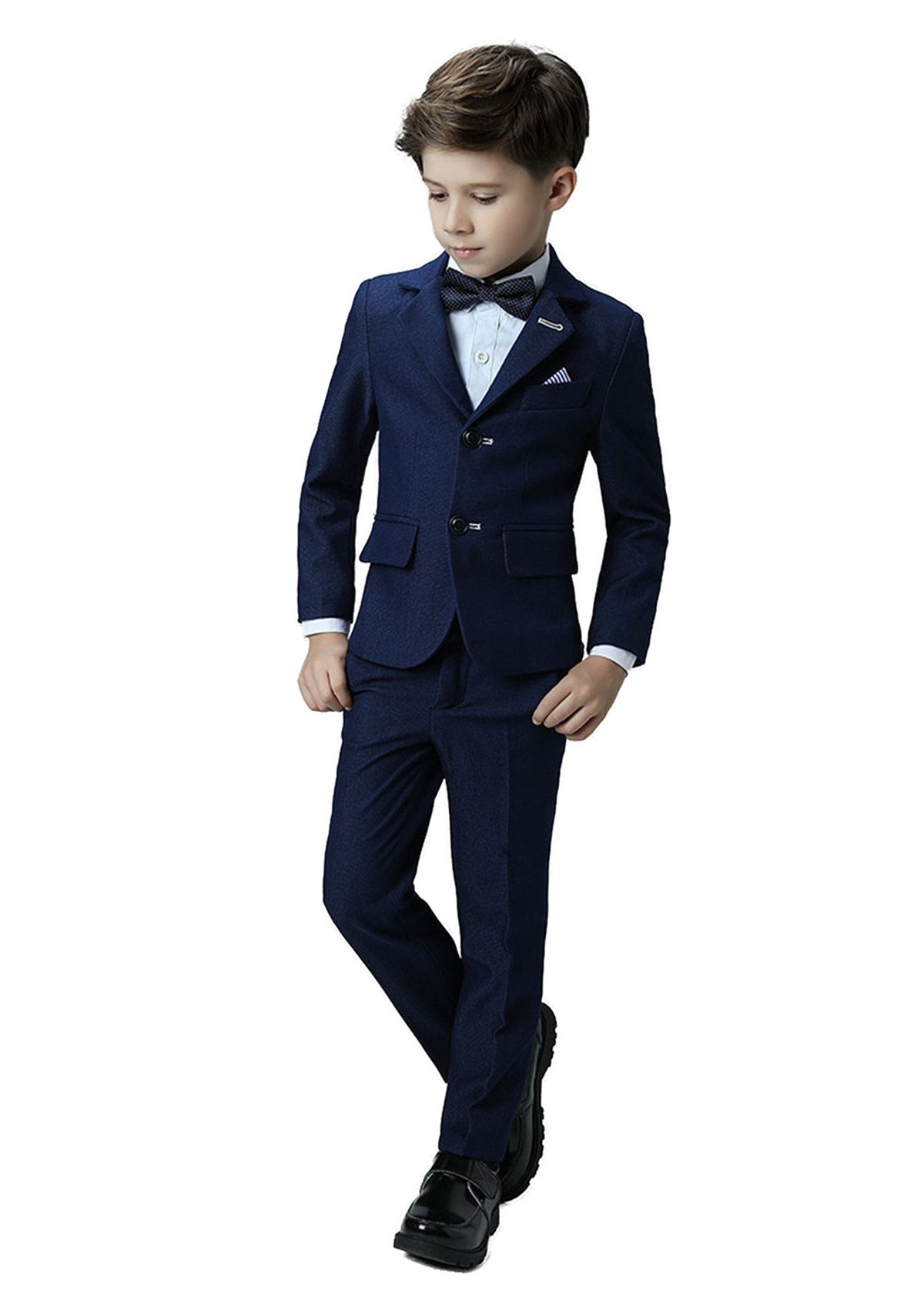 Yanlu Boys Formal Suits Silm Fit Dresswear Boy Suit with Blazer Pants Shirt and Bow Tie Size 4T Navy Blue