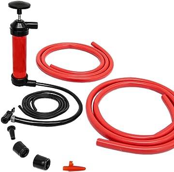 Bomba de Aire multifunción manual | Infla/Aspira aire y líquidos | para vaciar transferir gasolina aceite | inflador para bici pelotas colchonetas hinchables | rojo