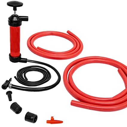 Bomba de Aire multifunción manual | Infla / Aspira aire y líquidos | para vaciar transferir gasolina aceite | inflador para bici pelotas colchonetas ...
