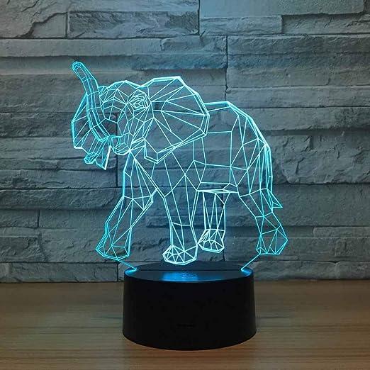 ZCXBHD 3D Animal Elefante Ilusión Lámpara Novedad Óptica Luz Led 7 ...