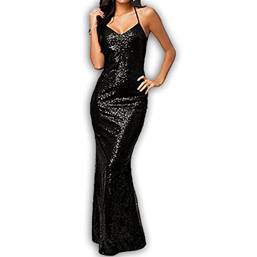 846 - Plus Size Cross-over Straps Low-cut Back Sequins Cocktail Gown Dress Black