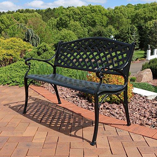 Sunnydaze Black Checkered Cast Aluminum Outdoor Patio Garden Bench, 2-Person