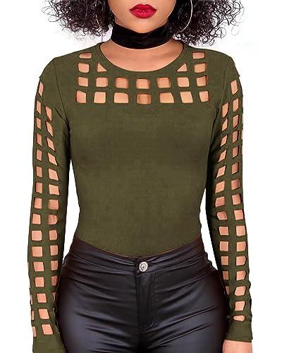 Mujeres Camisas Tops Casual Camisa del Hueco Blusa de la Manga Larga