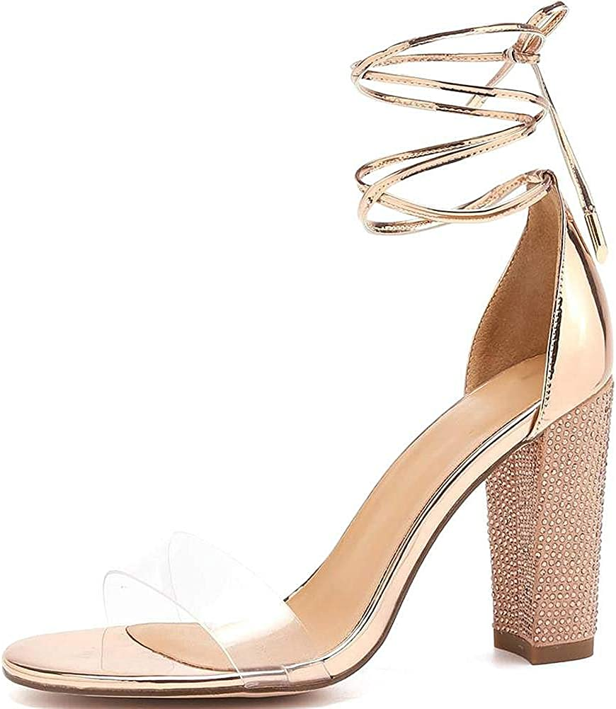 VANDIMI High Heel Sandals for Women Clear Heels with Rhinestone Ankle Strappy Lace Up Block Heel Diamante Dress Party Shoes