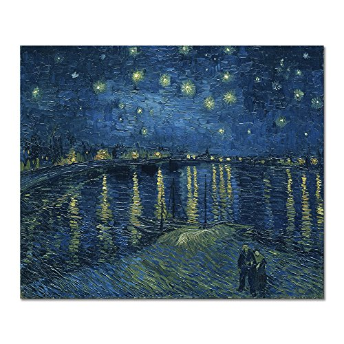 (Wieco Art Starry Night Over The Rhone by Van Gogh Classic Oil Paintings Reproduction Modern Seascape Giclee Canvas Prints Artwork on Canvas Wall Art Ready to Hang for Living Room Home Decorations)