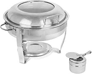 BirdRock Home Stainless Steel Chafing Dish with Burner - Viewing Window - Buffet Food Warmer Set - Party Essentials - Serving for Entertaining - Decorative Dish Warmers - Wedding Catering Food Trays