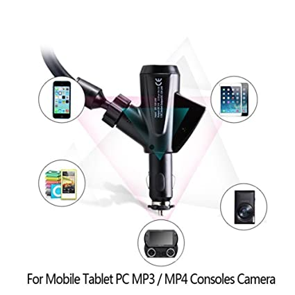 Amazon.com: GS Car Mount Universal Cellphone Holder Stand WIith Dual USB Car Charger Cigarette Lighter Power Adapter Outlet for iPhone 7/7Plus/6S/6/6Plus ...