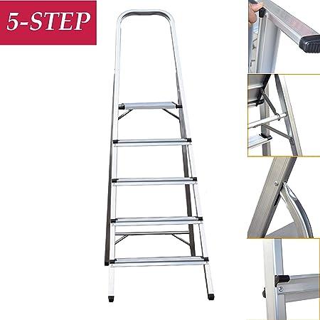 Escalera de tijera de 5 escalones plegables Escalera / 150 kg Capacidad antideslizante Portátil/Aluminio ligero para trabajos de huerta: Amazon.es: Hogar