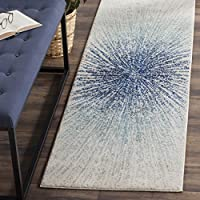 Safavieh Evoke Collection EVK228A Contemporary Burst Royal Blue and Ivory Runner (22 x 11)