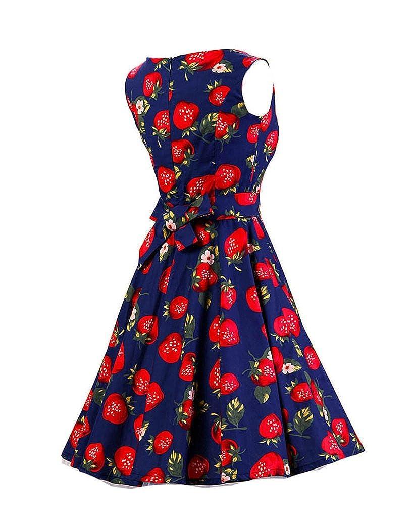 MISSMAO 50s Retro Blumen Rockabilly Kleid Rundhals 60s Damen Partykleider  Cocktailkleider  Amazon.de  Bekleidung 7973b1e40d