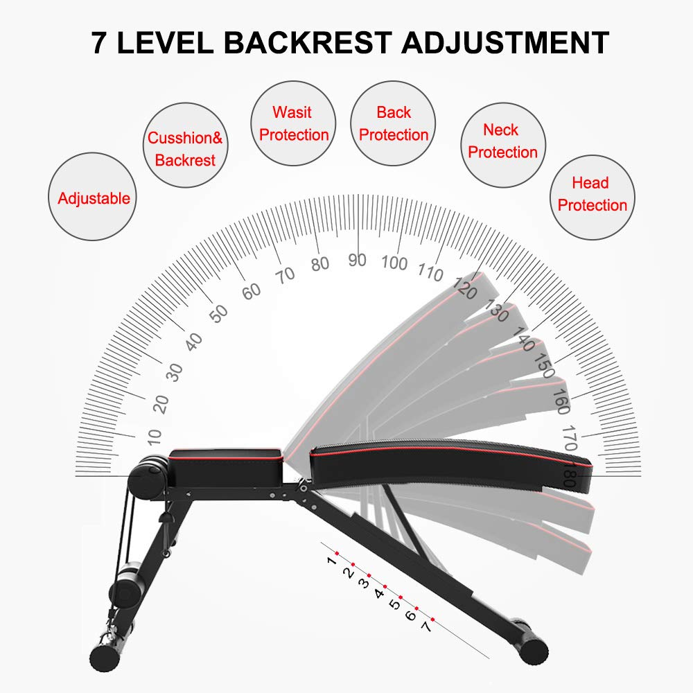 Yoleo Adjustable Weight Bench - Utility Weight Benches for Full Body Workout, Foldable Incline/Decline Bench Press for Home Gym by Yoleo (Image #3)